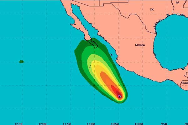 Ubicación del desplazamiento del huracán Blanca en el Pacífico mexicano. (Foto Prensa Libre:CNH):