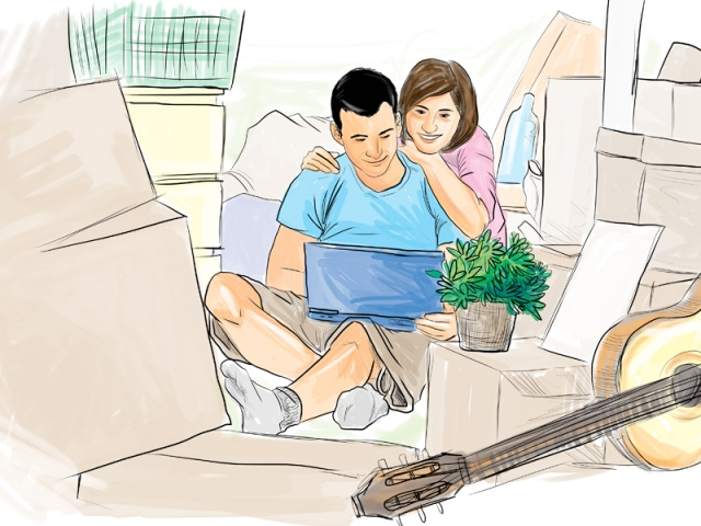 La mujer muchas veces tiene la iniciativa y motiva a su pareja a visitar los proyectos habitacionales. (Ilustración Prensa Libre: Kevin Ramirez)