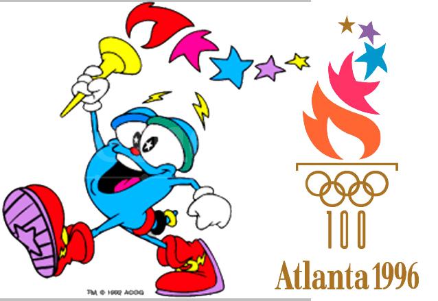 Izzy, la mascota oficial de los Juegos Olímpicos y el Logo de Atlanta 1996. (Foto: Hemeroteca PL)