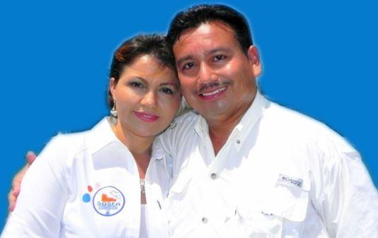 Alcalde Jorge Rizzo Moran y su esposa Odilia González. (Foto Prensa Libre: Municipalidad de Puerto de San José)