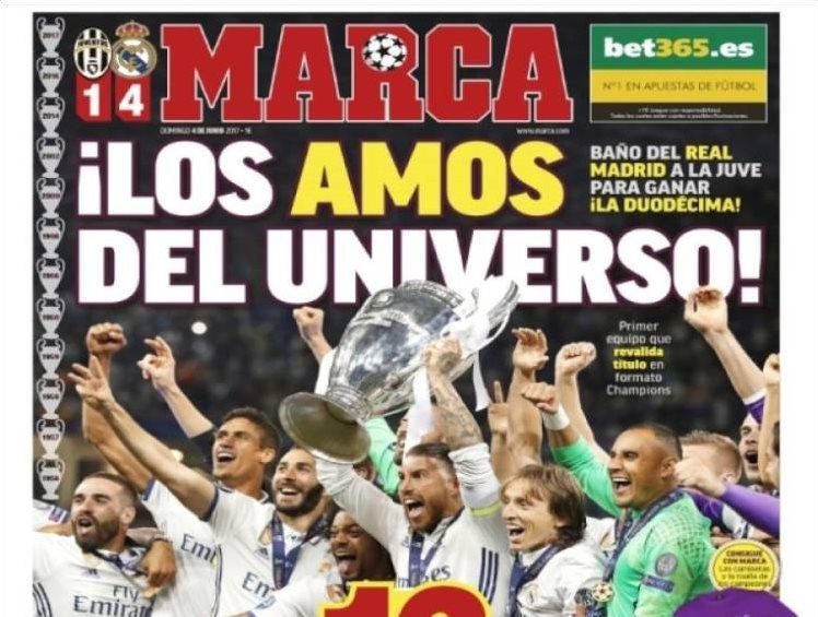 Marca celebró a lo grande el triunfo del Real Madrid. (Foto Prensa Libre: Marca)