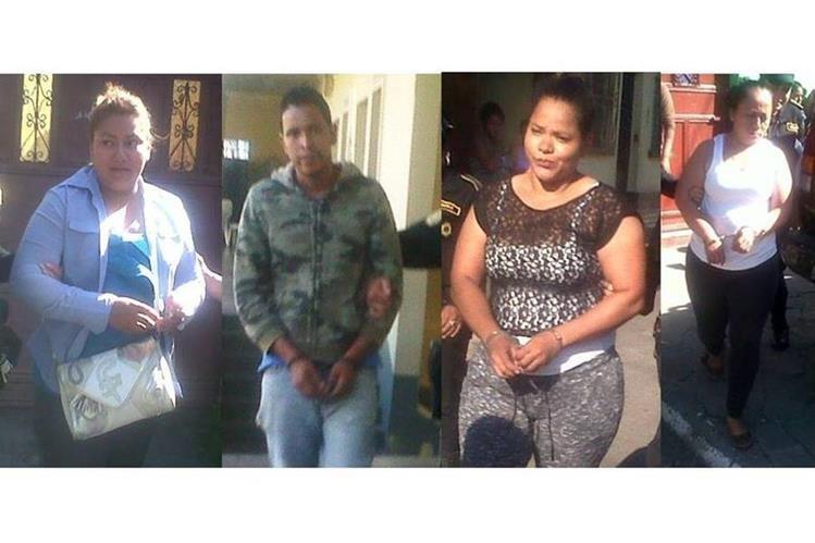 Cuatro de los capturados por la PNC en Escuintla, quienes son requeridos por un juzgado en Jalapa. (Foto Prensa Libre: PNC)