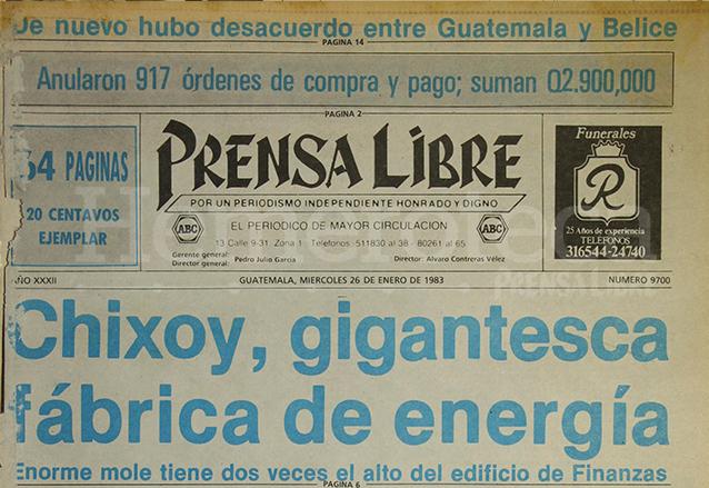 Titular de Prensa Libre del 26 de enero de 1983 informando sobre las obras de la Hidroeléctrica de Chixoy. (Foto: Hemeroteca PL)