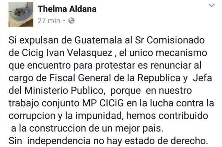 La fiscal general, Thelma Aldana, anunció anoche que renunciaría a su cargo si retiran a Iván Velásquez de Cicig. (Foto Prensa Libre: Facebook / Thelma Aldana)