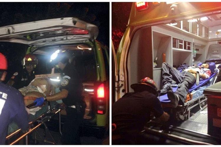 Bomberos Municipales ingresan al Hospital Roosevelt a la mujer y el hombre heridos de bala en Villa Nueva. (Foto Prensa Libre: CBM)