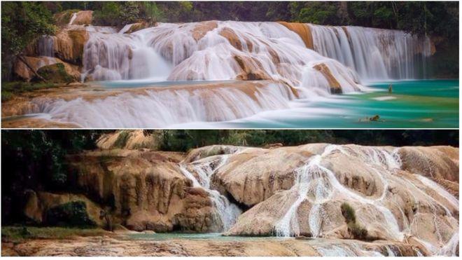 La principal cascada de Agua Azul se quedó sin agua en cuestión de horas. Foto: iStock/Alfonso García