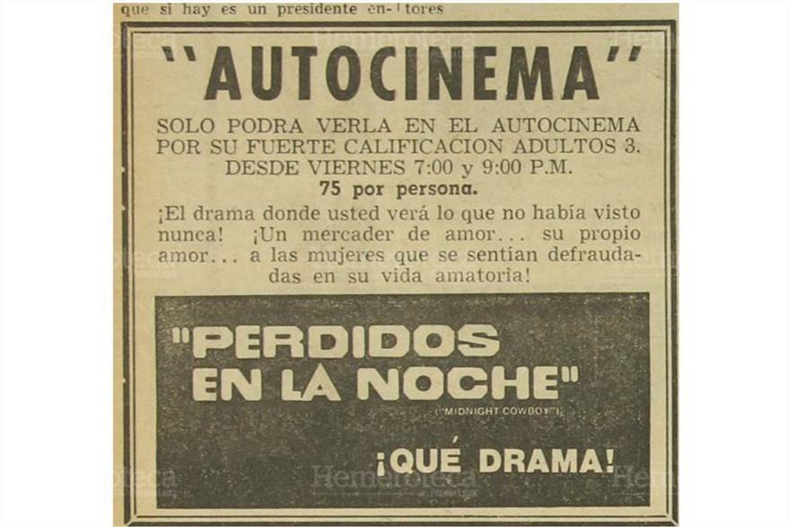 """El 6 de agosto de 1970 autocinema proyecta la película  para adultos  """"Perdidos en la Noche"""" ¡qué drama!.(Foto: Hemeroteca PL)"""