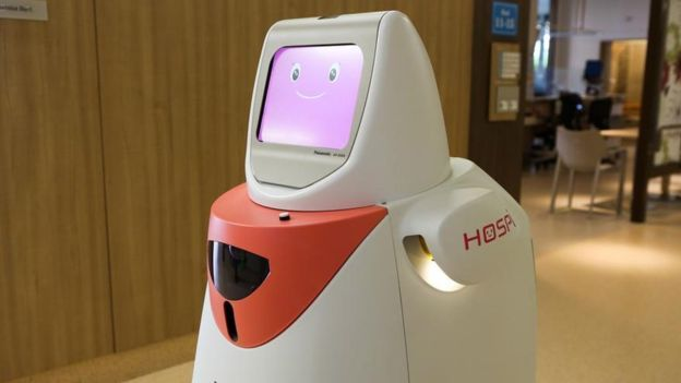 """HOSPI forma parte dela plantilla de uno de los hospitales de la ciudad desde 2015, como parte el proyecto """"Smart Nation"""". (PANASONIC)"""