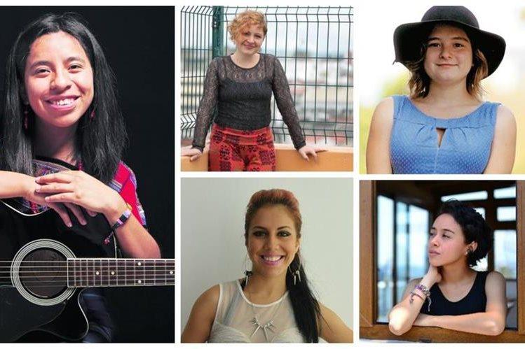 Sara Curruchich, Magda Angélica, Dominique Hunziker, Fabiola Roudha e Isabel Alarcón. (Fotos Prensa Libre: Hemeroteca PL)