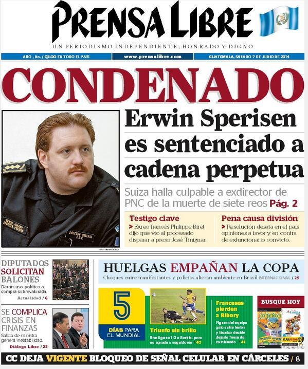 Portada de Prensa Libre sobre la condena al exjefe de la PNC de Guatemala, Erwin Sperisen. (Foto Prensa Libre: HemerotecaPL)