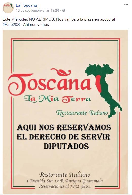 El restaurante italiano La Toscana no atenderá este miércoles en apoyo a marcha. (Foto Prensa Libre: Cortesía)