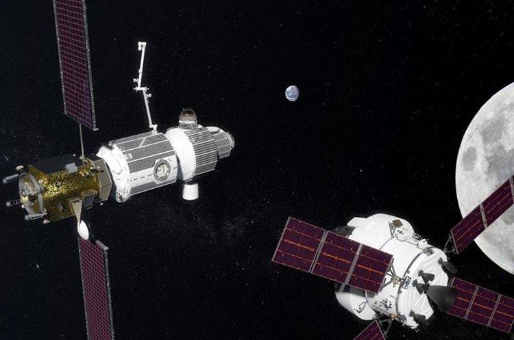 Render de cómo sería el concepto del proyecto deep space gateway cerca de la luna. (Foto Prensa Libre: Nasa)