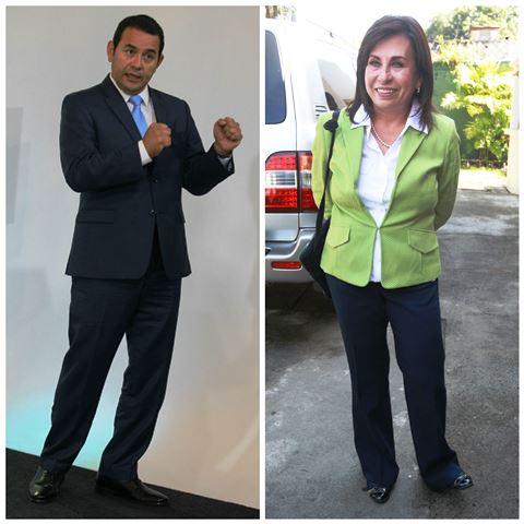 Jimmy Morales y Sandra Torres se disputaran la Presidencia en el balotaje del próximo 25 de octubre. Foto Prensa Libre: Hemeroteca PL)