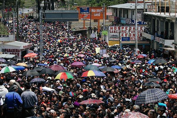 Las manifestaciones de los 48 cantones en Totonicapán se caracterizan por logar reunir a miles de personas. (Foto Prensa Libre: Hemeroteca PL)