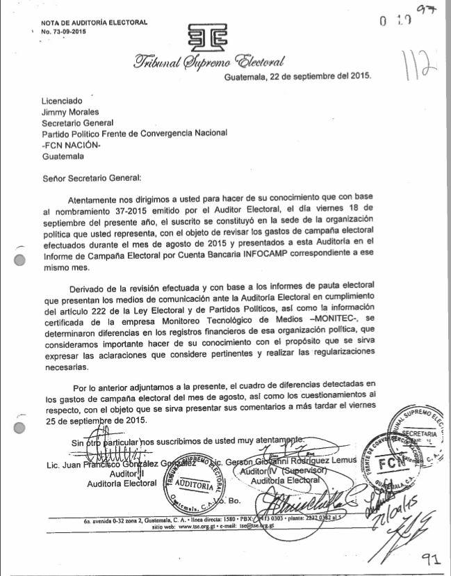 El 22 de septiembre de 2015, el TSE volvió a pedir a Jimmy Morales que se aclarara las inconsistencias para hacer las regulaciones pertinentes.