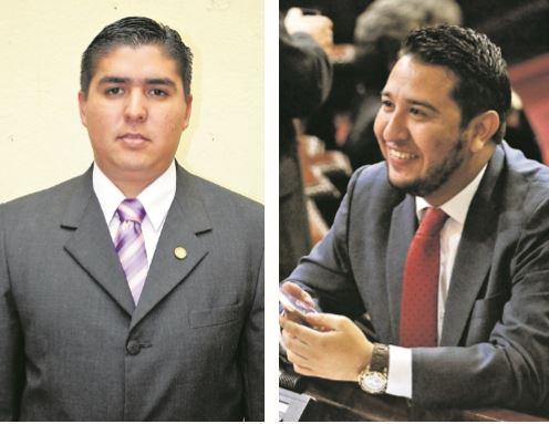 El diputado Óscar Quintanilla (Izquierda) y Jorge Arévalo son originarios de la capital, pero fueron electos por Quiché. (Foto Prensa Libre: Hemeroteca)