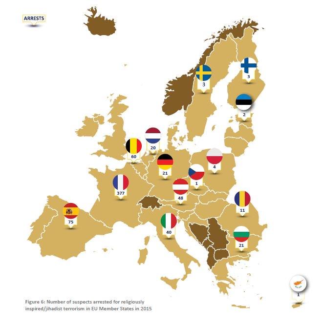 El mapa muestra a sospechosos arrestados en Europa, acusados de pertenecer o tener ideología yihadista. (Foto Twitter/@Europol).