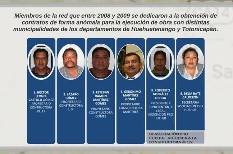 Los presuntos cabecillas de la estructura de corrupción que operaba en las municipalidades. (Foto Prensa Libre: MP)