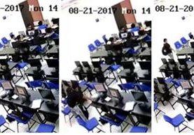 Las cámaras de seguridad de la Facultad de Arquitectura captaron el robo. (Foto Prensa Libre: Facebook / AEDA)