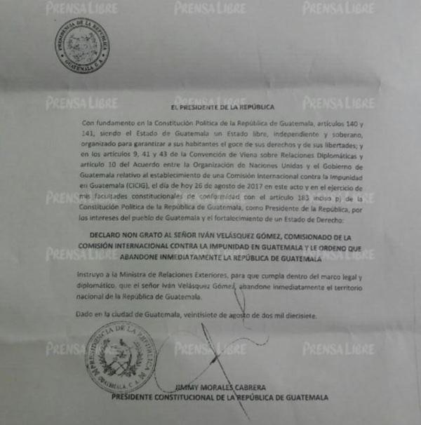 Carta con la que Jimmy Morales declara non grato a Iván Velásquez. (Foto Prensa Libre: Cortesía).