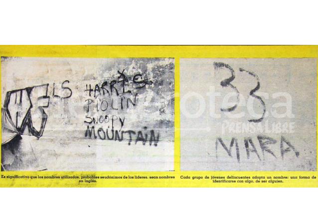 Pintas de la Mara 33 que comenzaba a operar en la ciudad capital en 1987. (Foto Prensa Libre: Hemeroteca)