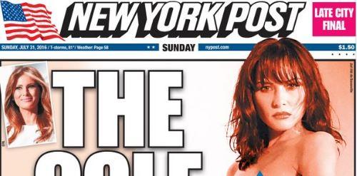 """Esta es la portada del New York Post. """"Fotos exclusivas"""". """"La potencial primera dama como nunca la habías visto antes"""", escribió el medio. (Foto: NYP)."""
