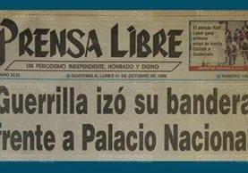 Titular de Prensa Libre del 21 de octubre de 1996. (Foto: Hemeroteca PL)