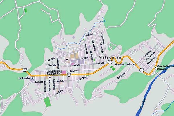 Mapa de  Malacatán, San Marcos, donde un ataque armado dejó como saldo la muerte de un investigador de la PNC. (Foto Prensa Libre: Google Maps)