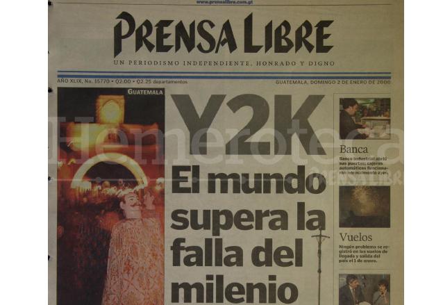 Portada de Prensa Libre del 2 de enero de 2000. (Foto: Hemeroteca PL)