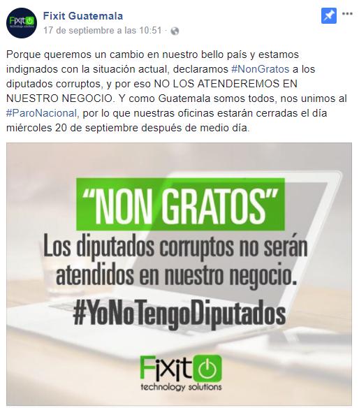 La empresa de tecnología Fixit no atendieron a sus clientes hoy por apoyo a manifestación. (Foto Prensa Libre: Cortesía)