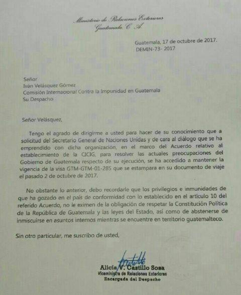 Cancillería de Guatemala notifica a titular de la CICIG otorgamiento de visa
