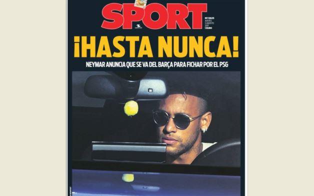 El diario Sport fue uno de los más duros en contra de Neymar. (Foto Prensa Libre: Kiosko.net)