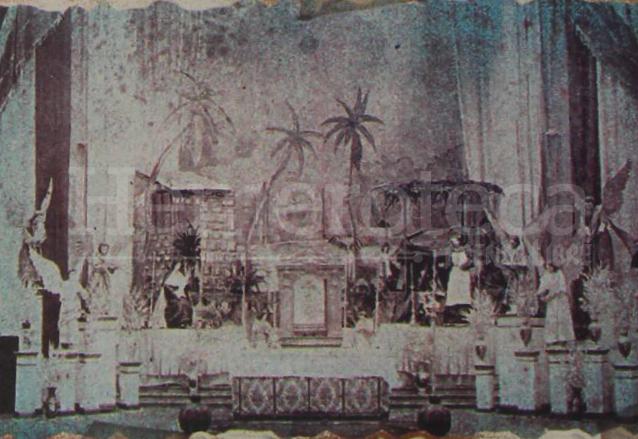 Jornaditas en el Templo de Santa Teresa mostrando la escena de la huída a Egipto en 1915. (Foto: Hemeroteca PL)