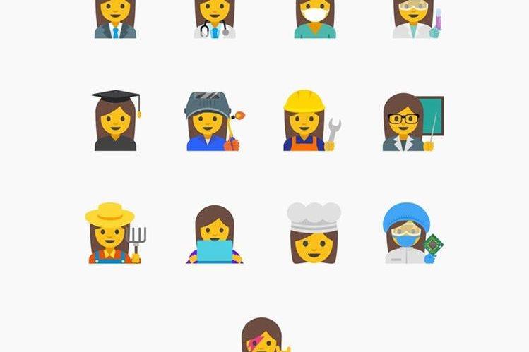 En esta imagen se muestran las propuestas de Google para emojis femeninos. (Foto Prensa Libre: AP).