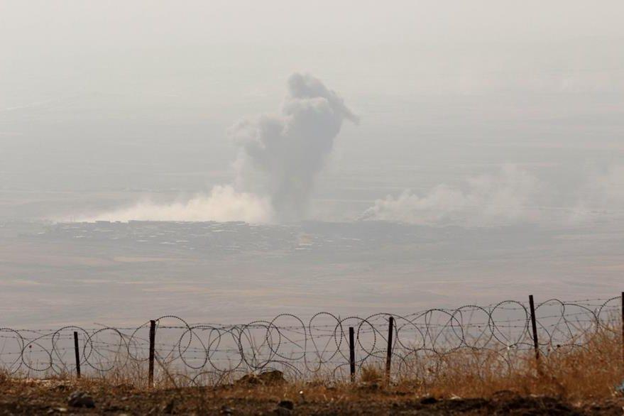 Imagen de una explosión, durante los ataques lanzados por las fuerzas iraquíes. (Foto Prensa Libre: AFP).