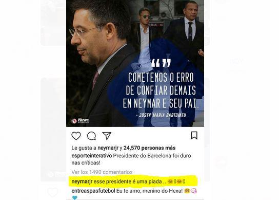 Este fue el comentario de Neymar sobre la entrevista de Bartomeu. (Foto Prensa Libre: Captura de Pantalla Instagram)