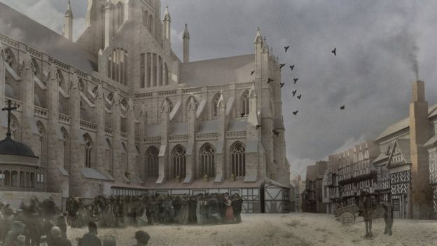 Reconstrucción de una parte de la catedral antes del incendio. CATEDRAL DE SAN PABLO