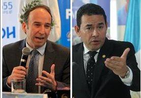 El procurador Jorge de León y mandatario Jimmy Morales cruzan señalamientos por el tema del Hogar Seguro. (Foto Prensa Libre)