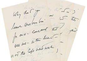La carta de amor escrita a mano por el asesinado presidente de EE. UU., John F. Kennedy a una de sus supuestas amantes. (Foto Prensa Libre: AP).