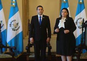 Presidente Jimmy Morales y la canciller Sandra Jovel. (Foto Prensa Libre: Esbín García)