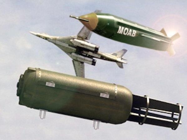 """El """"padre"""" de todas las bombas comparado con la """"madre"""", lanzada el jueves por EE. UU. (Foto Prensa Libre: Cortesía)"""
