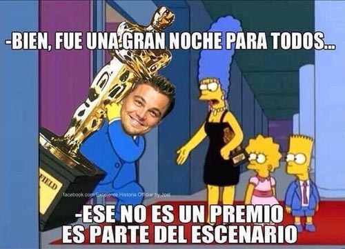 Imágenes de Los Simpson no pueden faltar para satirizar a DiCaprio.