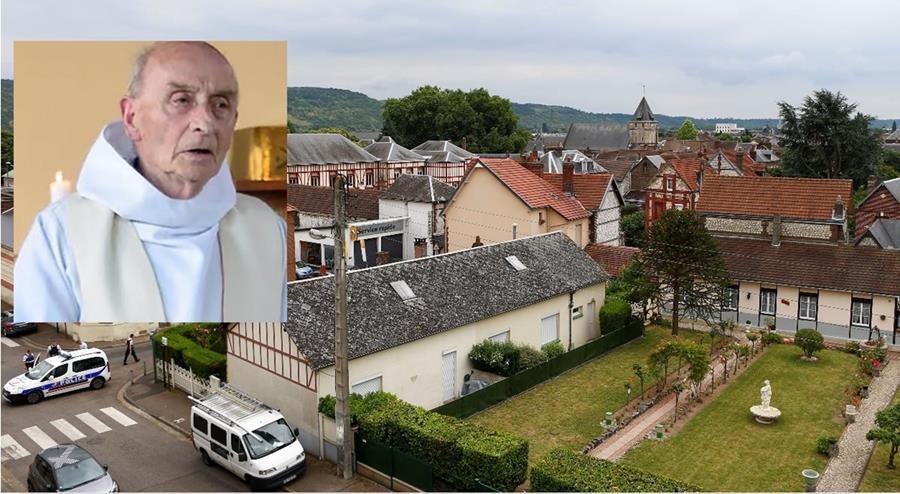Iglesia Católica donde el sacerdote Jacques Hamel -inserto-, fue asesinado por el EI.(AP).