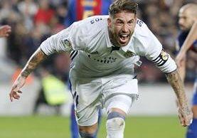 La euforia total de Sergio Ramos, después de marcar el 1-1. (Foto Prensa Libre: AFP)