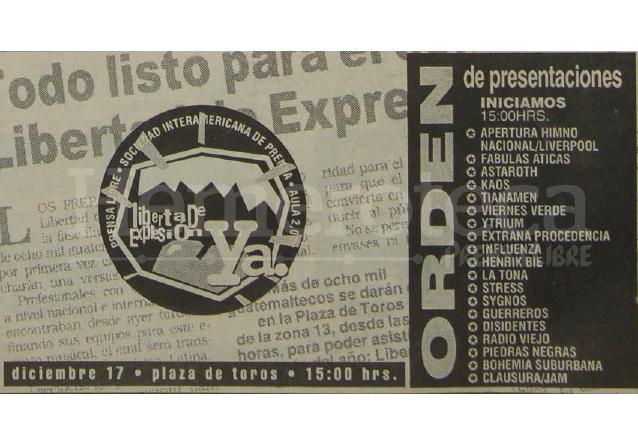 El cartel de las bandas que se presentaron en el concierto. (Foto: Hemeroteca PL)