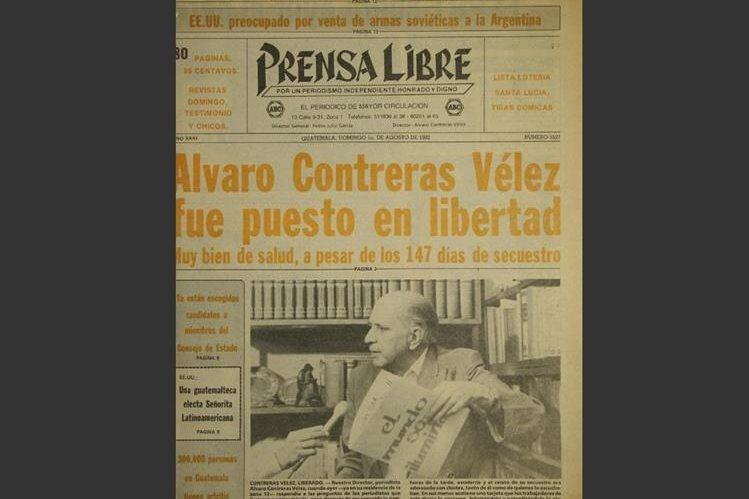 Portada de Prensa Libre del 1 de agosto de 1982 informando sobre la liberación de Álvaro Contreras Vélez. (Foto: Hemeroteca PL)