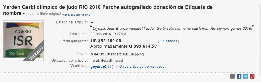 En el sitio de internet aparece la subasta como finalizada.(Foto Prensa Libre: Captura de pantalla Ebay)