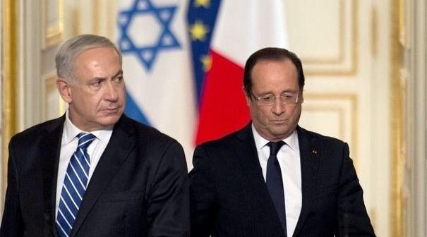 Foto de archivo de una reunión en París de Benjamin Netanyahu y Francois Hollande.