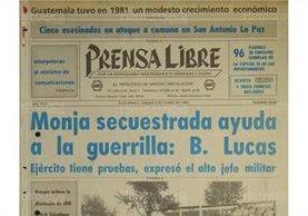 Portada de Prensa Libre del 9/1/1982 donde se informa del secuestro de sor Victoria de La Roca. (Foto: Hemeroteca PL)