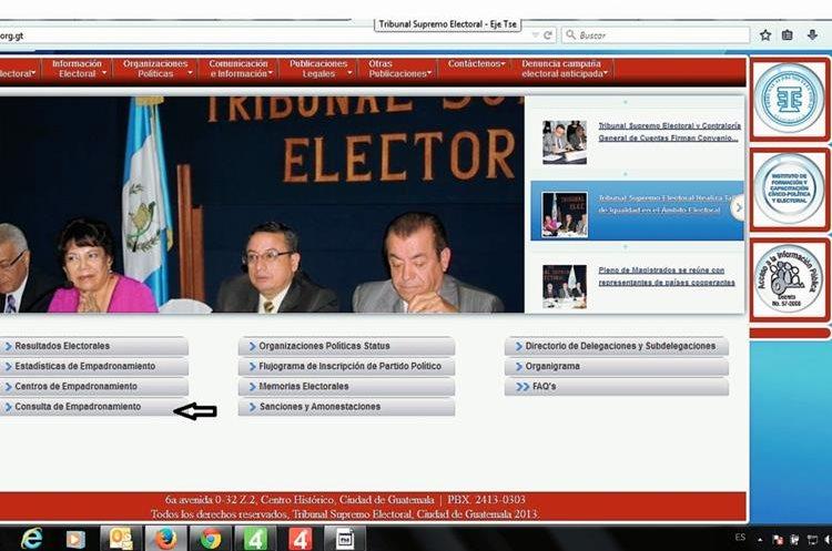 Elija la pestaña Consulta de Empadronamiento en la página web del TSE. (Foto: Prensa Libre)